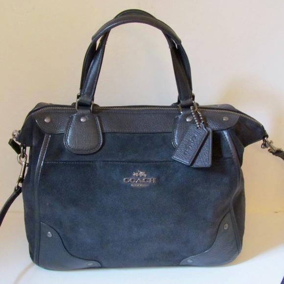 4e0928ddb283 Coach Handbags - Coach Mickie Satchel ~ Midnight Blue Suede